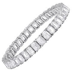 Platinum Emerald Cut Tennis Bracelet