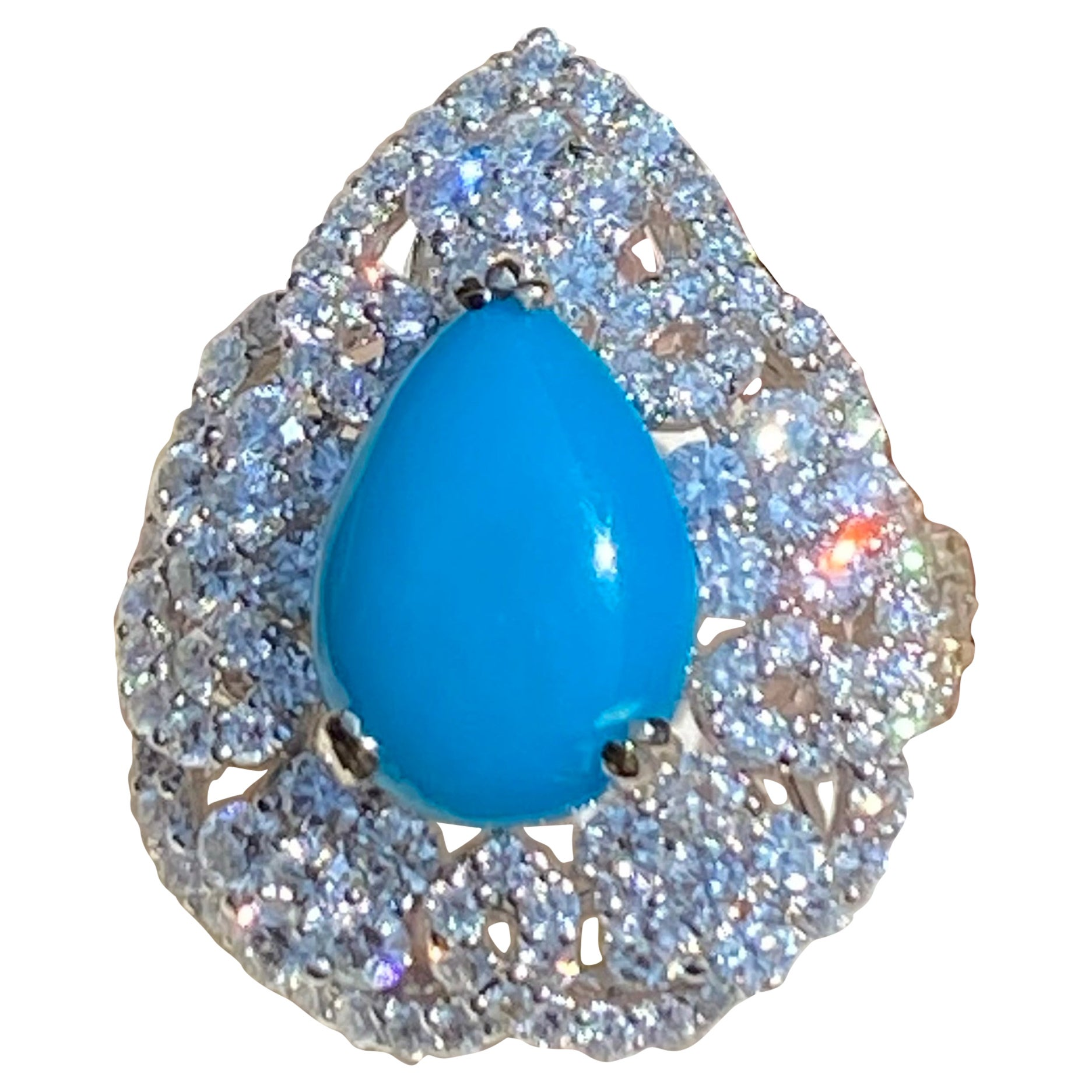 Large Pear Shaped Natural Persian Turquoise and Diamond 18 Karat Cocktail Ring