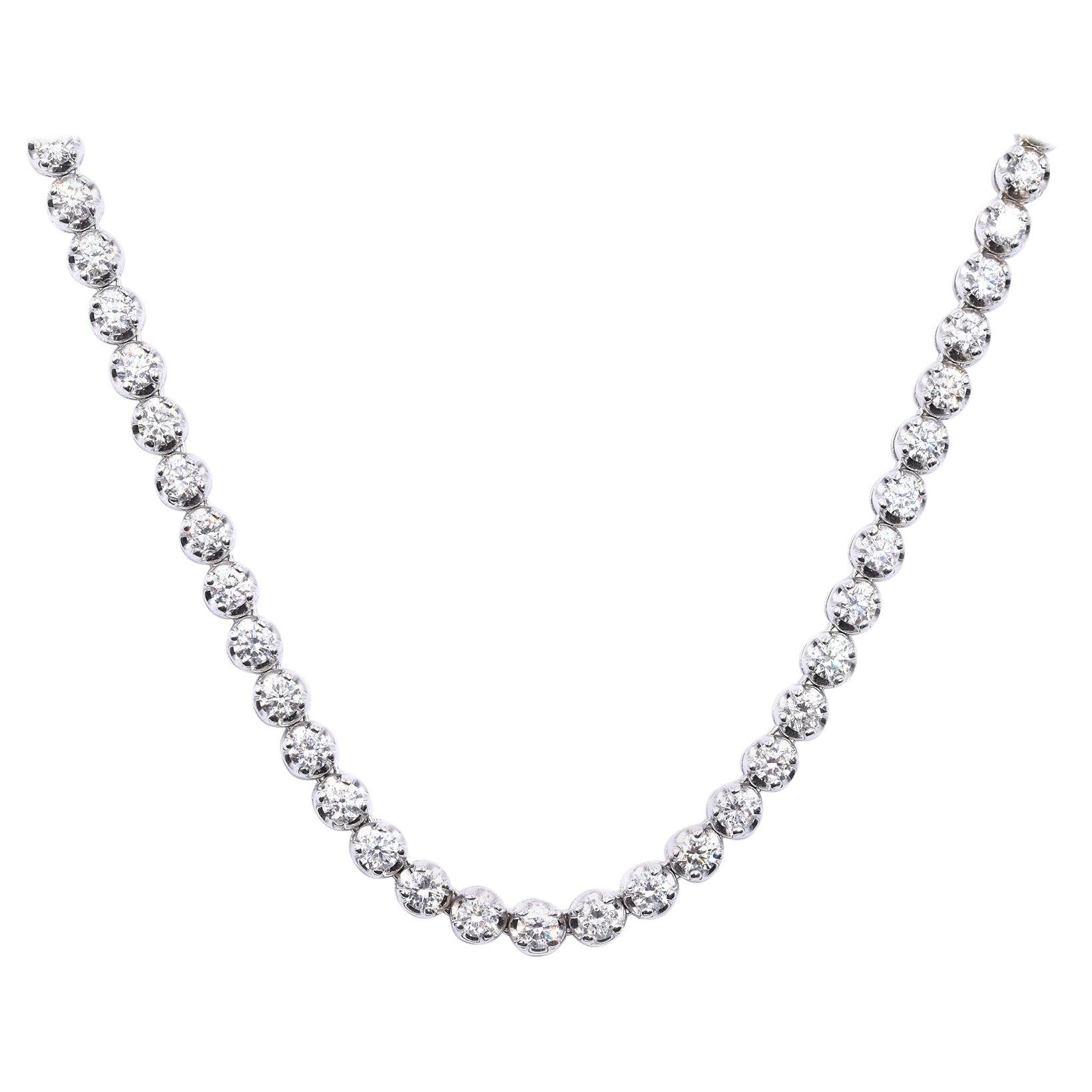 14 Karat White Gold Diamond Tennis Necklace
