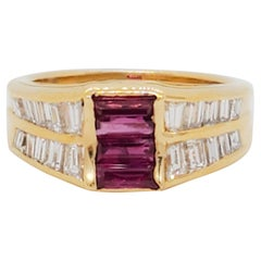 Ruby Baguette and Diamond Band Ring in 18k Yellow Gold