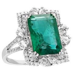 Emerald & Diamond 8.27 Carat 18K White Gold HRD Certified Ring