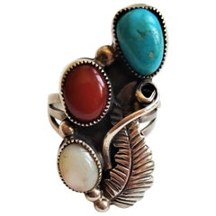 Native American Silver Ring Carnelian Turquoise, 6.7 Grams