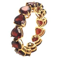 Garnet Heart Ring in 10K Yellow Gold