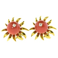 Jean Schlumberger 18K Gold, Diamond and Coral Earrings, circa 1960