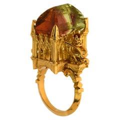 Les Abeilles de Notre Dame Cathedral Ring 18kt Yellow Gold, Tourmaline & Citrine