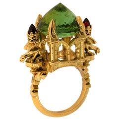 La Muse Verte Cathedral Ring 18kt Yellow Gold, Green Tourmaline & Garnet