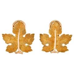 Buccellati 1970's Italian 18 Karat Two-Tone Gold Maple Leaf Earrings