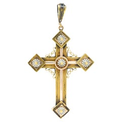 1880's Victorian 14 Karat Tri-Colored Gold Unisex Cross Pendant