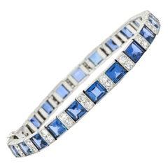 Art Deco 20.60 Carats Sapphire Diamond Platinum Line Bracelet Circa 1930