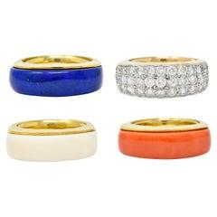 1970's Vintage Coral Lapis Agate Diamond 18 Karat Gold Stackable Band Rings