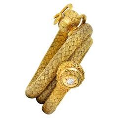 1870's Victorian Etruscan Revival Diamond 18 Karat Gold Ram Wrap Bracelet