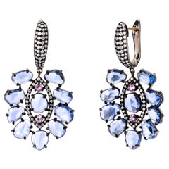 Blue and Pink Sapphire Victorian Earrings with Diamonds