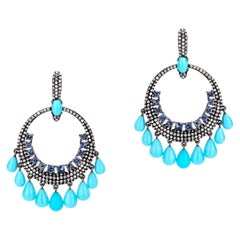 Turquoise and Blue Sapphire Victorian Dangle Earrings with Diamond