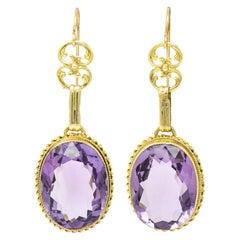 1880's Victorian Amethyst 14 Karat Gold Gemstone Drop Earrings