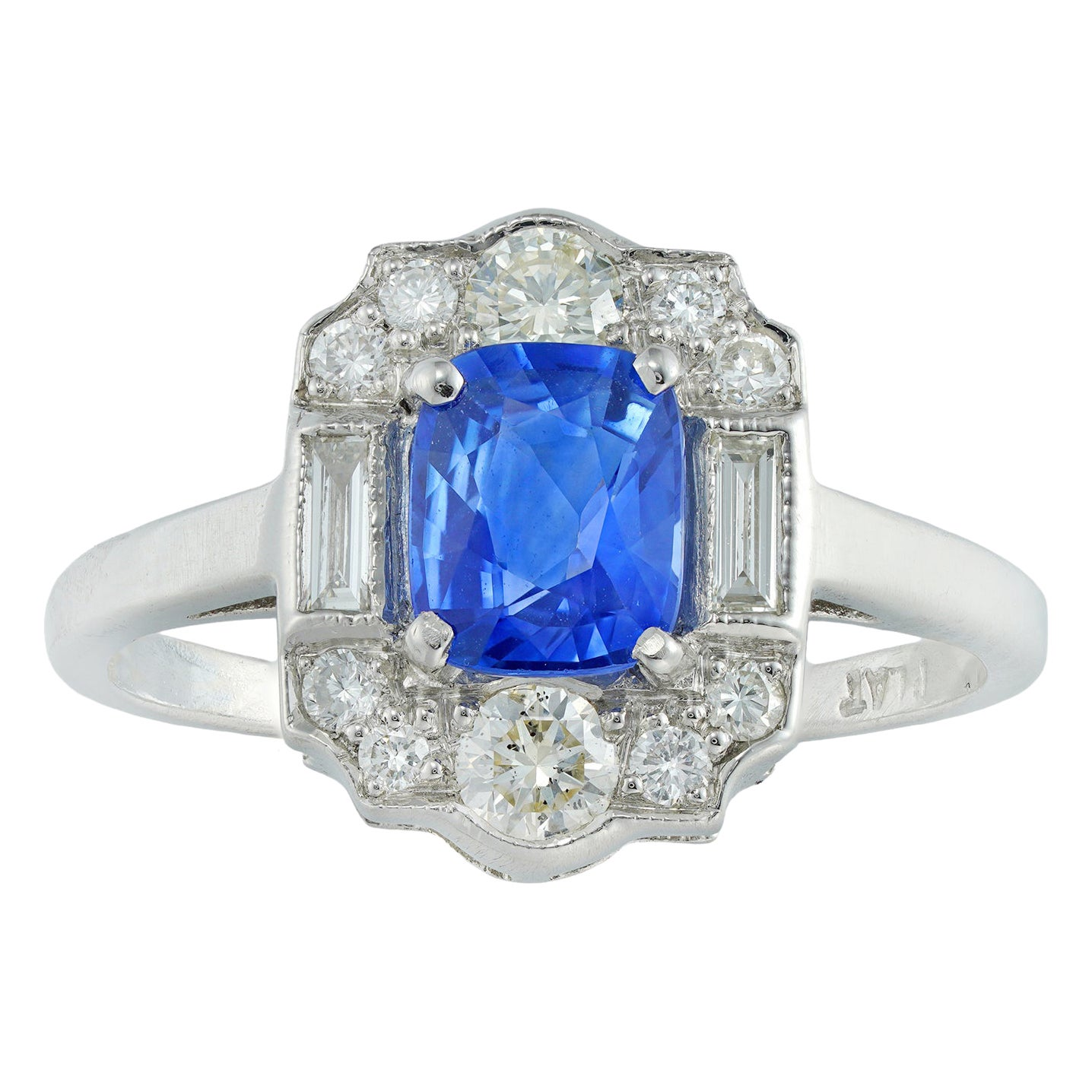 Art Deco Style Sapphire and Diamond Plaque Ring
