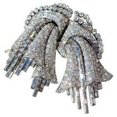 Art Deco Floral Diamonds Platinum 15 Carats European Double Clip or Brooch