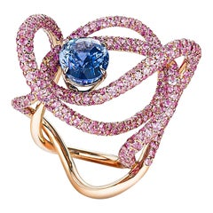 Neha Dani Blue Natural Sapphire with Round Pink Sapphire in Rose Gold Kephi Ring