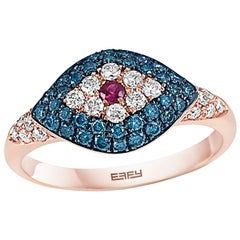 Effy 18K Rose Gold Diamond, Blue Diamond & Ruby Ring