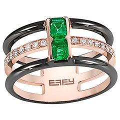 Effy 14 Karat Rose Gold Emerald and Diamond Ring