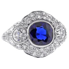 Tiffany & Co. Art Deco A.G.L Certified Sapphire and Diamond Ring