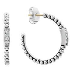 Lagos Sterling Silver Caviar Spark Diamond Hoop Earring