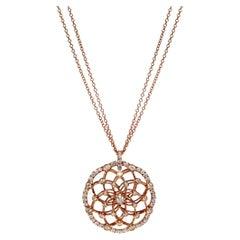 Luca Carati 18K Rose Gold Diamond Circle Pendant Necklace 1.66Cttw
