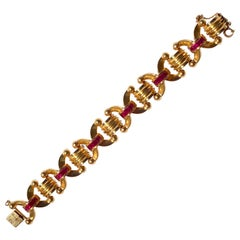Art Deco Bracelet  Articulated Ruby and Gold Chain Portuguese