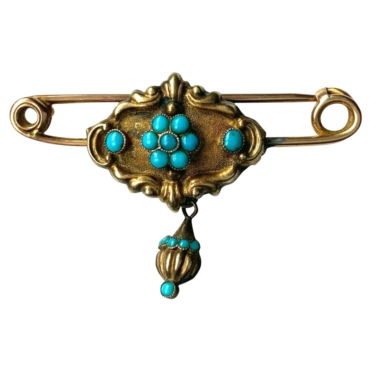 9ct Gold Antique Georgian Turquoise Set Brooch