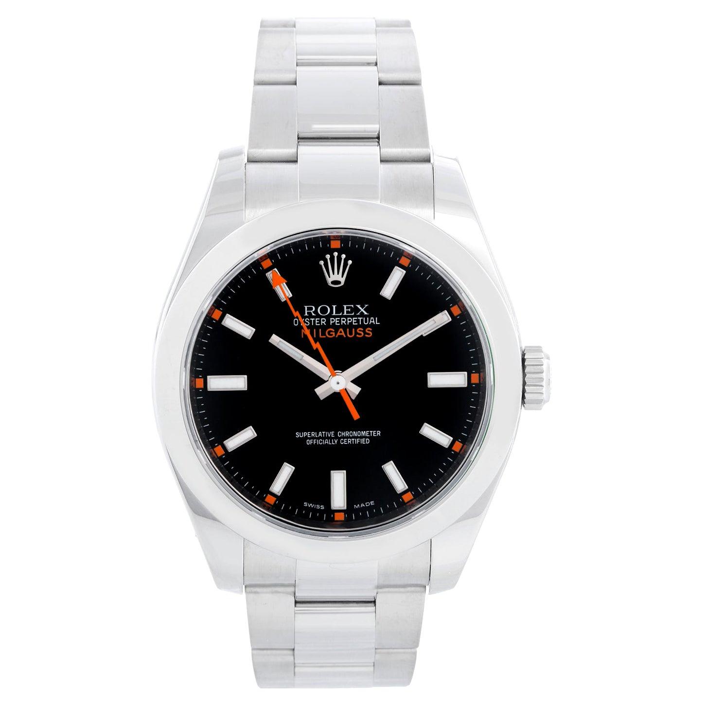 Rolex Milgauss Stainless Steel Men's Watch Black Dial 116400