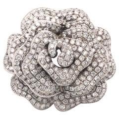 Rose Flower Diamond Cocktail Ring 18k White Gold