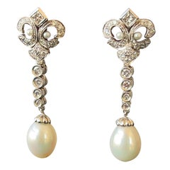 Fleur de Lys White Gold Diamonds Pearls Portuguese Gold Earrings