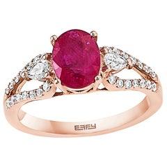 Effy 14 Karat Rose Gold Ruby and Diamond Ring
