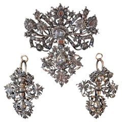 Set Demi-Parure Diamonds Gold Portuguese 1700s Set Earrings and Brooch Pendant