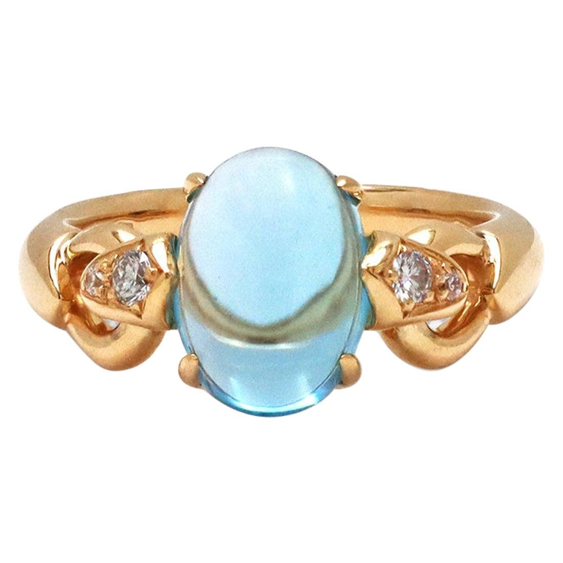 Bvlgari Topaz and Diamond Yellow Gold Ring