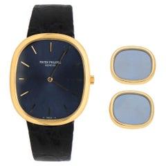 Vintage Patek Phillippe Ellipse Watch and Matching Cufflinks in 18k Yellow Gold