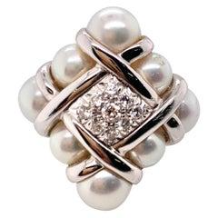 Mikimoto Designer Natural Pearl and Diamond Ring
