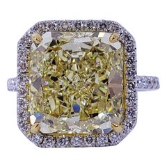 David Rosenberg 6.02 Carat Radiant Fancy Yellow VS2 GIA Diamond Engagement Ring