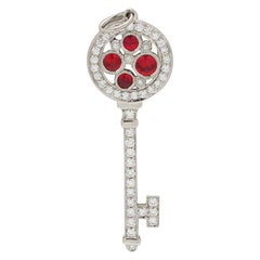Tiffany & Co. 'Cobblestone' Diamond and Ruby Key Charm