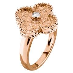 Van Cleef & Arpels Alhambra 18k Rose Gold Diamond Ring