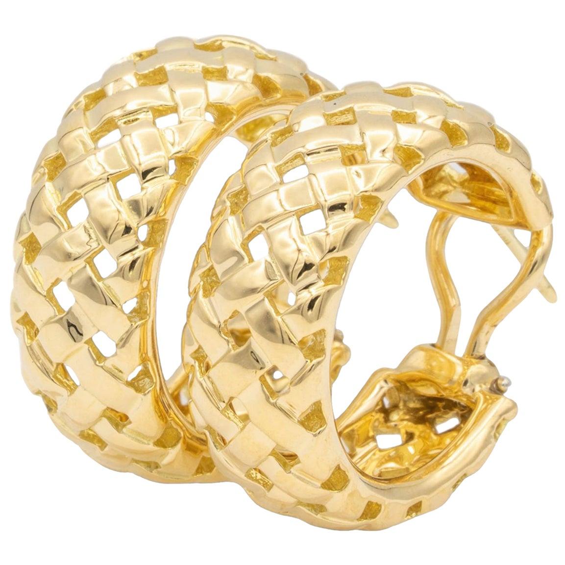 Vintage Tiffany & Co. Vannerie Wheat Basket 18K Gold Hoop Earrings Circa 1990