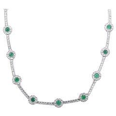 14 Karat White Gold Emerald and Diamond Link Necklace