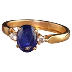 Retro Estate 18K Yellow Gold Cabochon Sapphire Diamond Ring