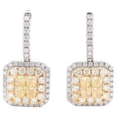 14 Karat Two Tone Fancy Yellow and White Diamond Drop Earrings