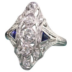 Antique Art Deco Platinum Old Mine Diamond and Sapphire Shield Ring