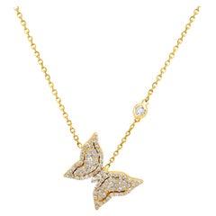 Stambolian 18 Karat Yellow Gold Diamond Small Butterfly Pendant Necklace