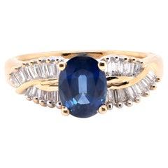 14 Karat Yellow Gold Sapphire and Diamond Baguette Ring