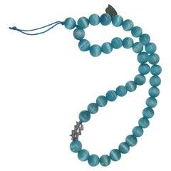 Large Light Blue Cat Eye Beads Strap and Aquarius Charm