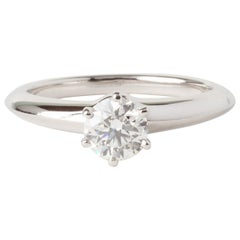 Tiffany & Co White Gold 0.54ct Round Diamond Solitaire Engagement Ring