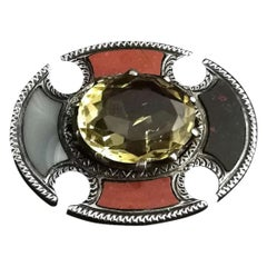 Antique Scottish Agate and Citrine Brooch, Sterling Silver