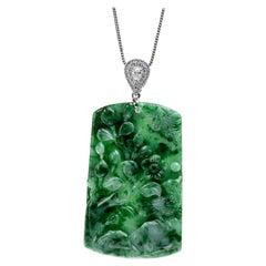 Green Jadeite Jade Flower with Birds and Diamond Pendant, Certified Untreated
